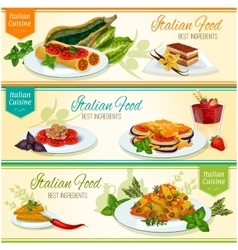 Italian cuisine popular lunch dishes banner set vector image