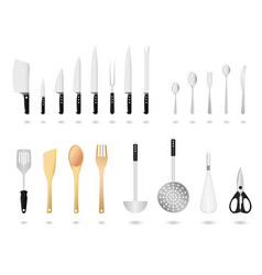 kitchen utensils set a set of kitchen utensils vector image