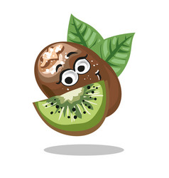kiwi cute fruit character isolated on vector image