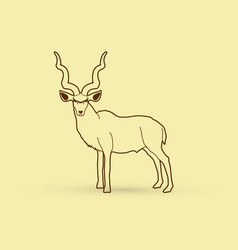 kudu oryx big horn standing vector image