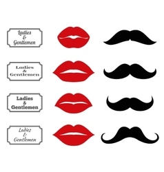 Ladies and gentlemen bathroom symbols lips vector image