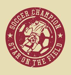 Logo design soccer champion star on field vector