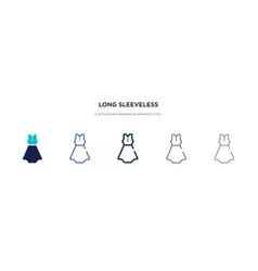 Long sleeveless dress icon in different style vector