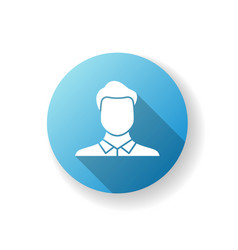 male avatar blue flat design long shadow glyph vector image