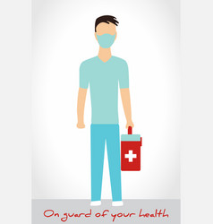 man in medical suit and mask with medic bag vector image