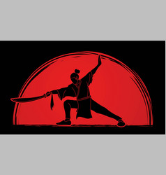 Man with sword action kung fu pose graphic vector