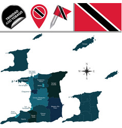 Map trinidad and tobago with divisions vector