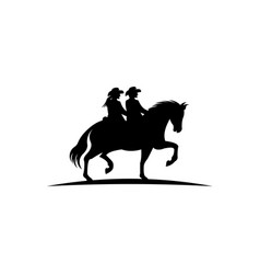 Men and women with lasso riding a horse vector