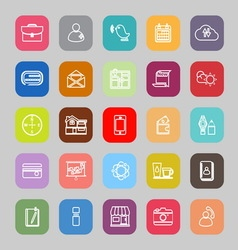 Mobile line flat icons vector