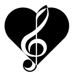 music treble clef heart abstraction tattoo vector image