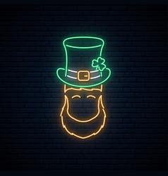 neon leprechaun with patricks green hat vector image