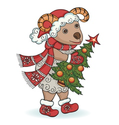 New year ram with Christmas tree vector image