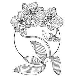 Orchid flowers coloring book vector