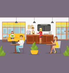 people relaxing in cafe shop male barista serving vector image