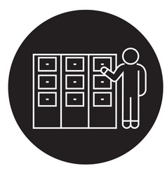 person searching file in office black vector image