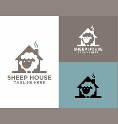 Playful sheep house logo vector