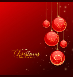 red backgorund with hanging chrismtas decoration vector image