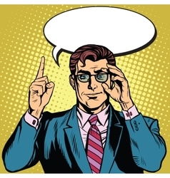 Retro businessman says vector image