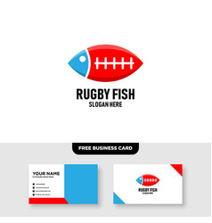 Rugby fish logo free business card vector