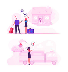 Safe home concept people getting notification vector