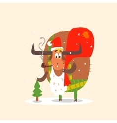 Santa Bull with Beard vector image