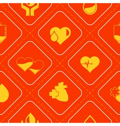 Seamless background with blood donation icons vector