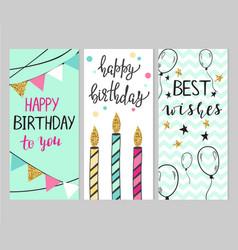 set bright birthday cards vector image