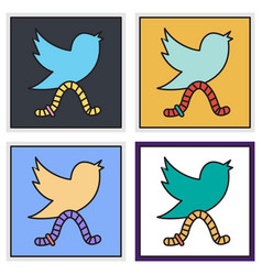 Set of unusual look tweet bird logotwitter icon vector