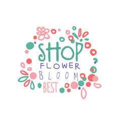 Shop flower bloom logo template element for vector