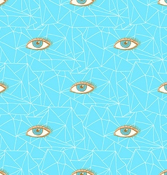 Sketch triangles and eye in vintage style vector image