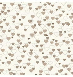 Small brown beige hearts seamless pattern vector image