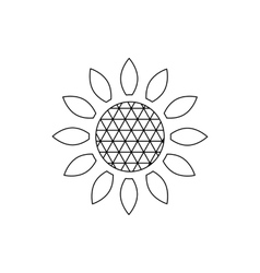 Sunflower icon outline style vector image