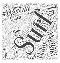 Surf Lessons on Oahu in Hawaii Word Cloud Concept vector