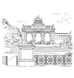 The triumphal arch in the park of the fiftieth vector