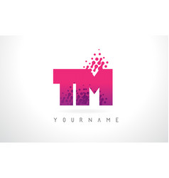 tm t m letter logo with pink purple color and vector image