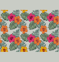 tropical seamless pattern with flowers hibiscus vector image