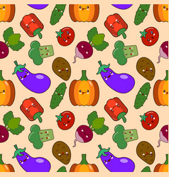 vegetable seamless patterns kawaii characters vector image vector image