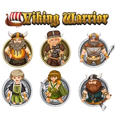 Viking warriors on round badges vector