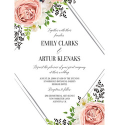 Wedding floral watercolor style invite vector