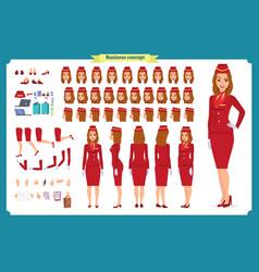 woman character creation set stewardess vector image