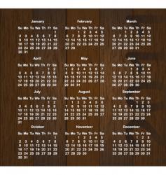 wood calendar vector image