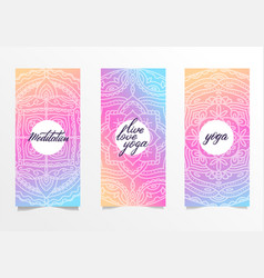 yoga bright background template with mandala in vector image