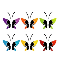 Face of a lady and butterfly vector image vector image