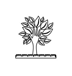 figure tree with leaves and grass icon vector image vector image