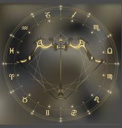Golden bow and arrow zodiac Sagittarius sign vector image vector image