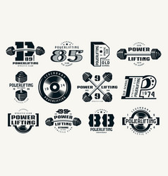 powerlifting emblems and badges vector image
