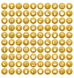 100 apple icons set gold vector
