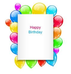 Birthday Postcard with Colorful Balloons with Text vector image vector image