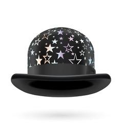 Black starred bowler hat vector image