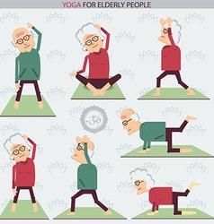 Elderly people yoga lifestlye vector image vector image